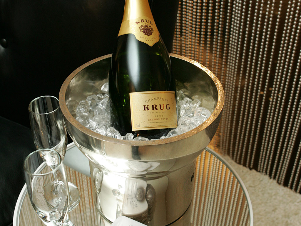 Krug Champagne chilling in an ice bucket