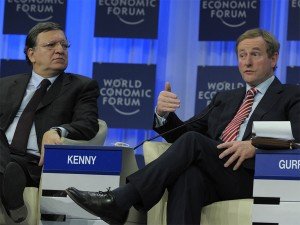 Panelists discuss Europe's long-term strategy to improve global competitiveness at WEF in Davos yesterday