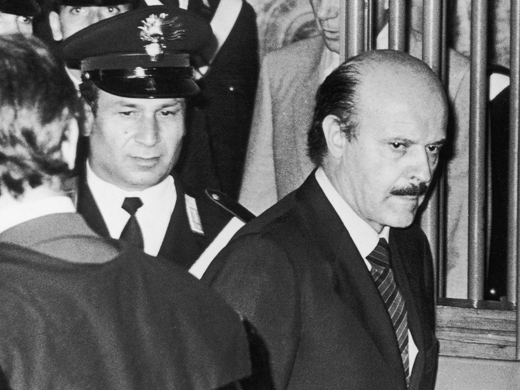 Roberto Calvi arriving at the opening of his trial on charges of the illegal export of funds, in Milan 1981