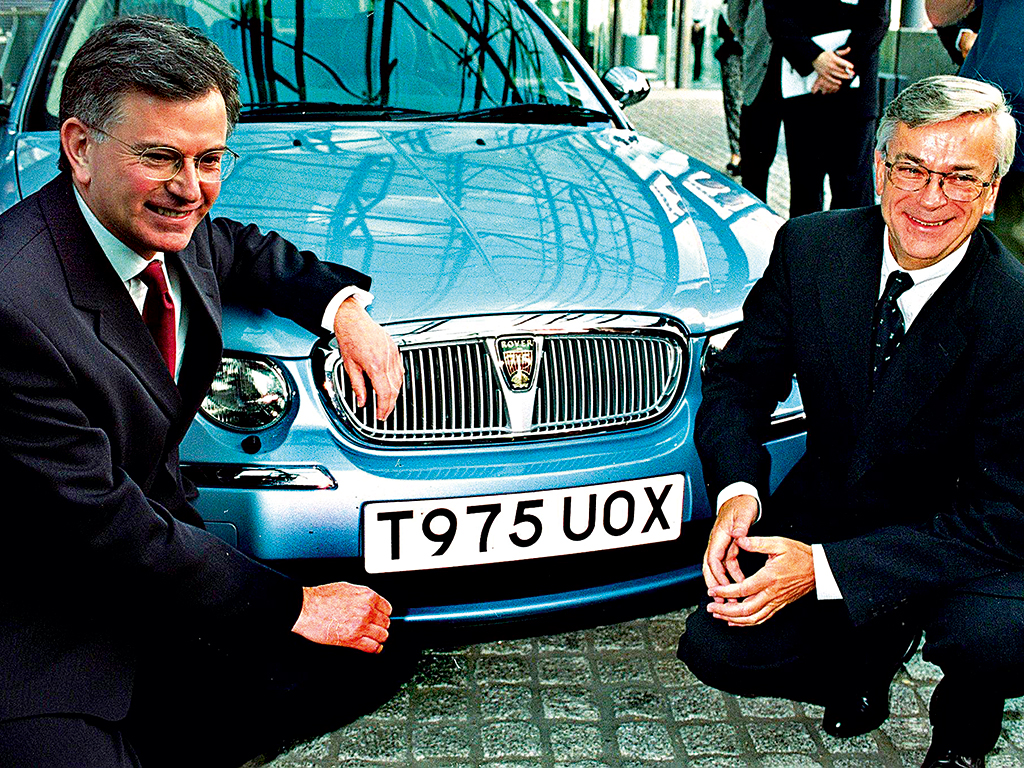 BMW's Chairman Joachim Milberg with Secretary for Trade and Industry Stephen Byers