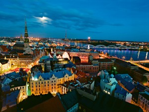A view across the rooftops of Riga, Latvia's capital city and European Capital of Culture 2014. The country provides a strong hub for international business and trade
