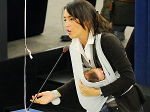 Championing parental leave equality: Italian MEP Licia Ronzulli speaks during a vote in favour of improving maternity leave laws at the European Parliament