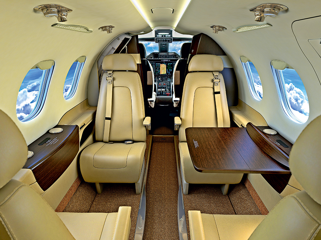 A glimpse inside the Phenom 100 aircraft