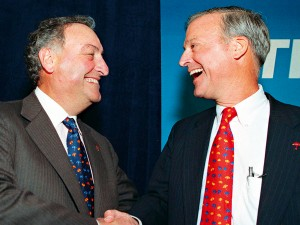 While co-CEOs can seem like a profitable prospect for companies, the practicalities can be complicated. Sanford Weill (l) and John Reed (r) found running Citigroup together difficult, and Reed quit after just two years