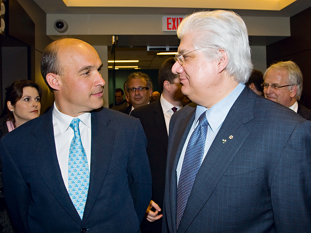 Former joint Research in Motion CEOs Jim Balsillie (l) and Mike Lazaridis (r). They quit together in 2012