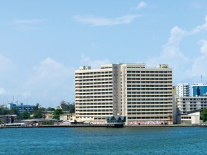 Buildings on Lagos River in Nigeria. Innovative construction projects in Lagos are now entering the production phase