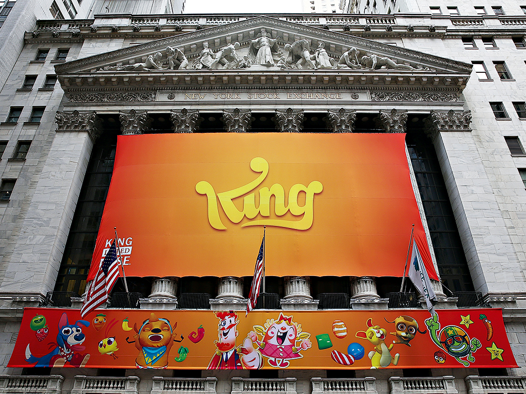 King branding adorns the New York Stock Exchange for the company's IPO in March 2014