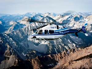 A Bell 429 helicopter in action. The helicopter has been praised for its cutting edge technologies, spacious cabin and quiet rides