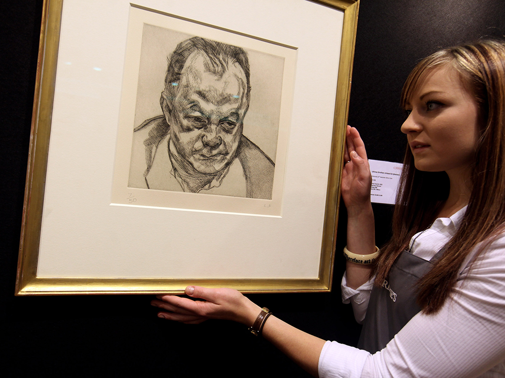 A Lucian Freud artwork titled 'Head Bruce Bernard' is auctioned off after Lehman Brothers collapsed