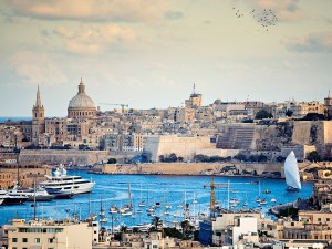 Marsamxett, one of the natural harbours that service Malta's commercial and leisure maritime needs