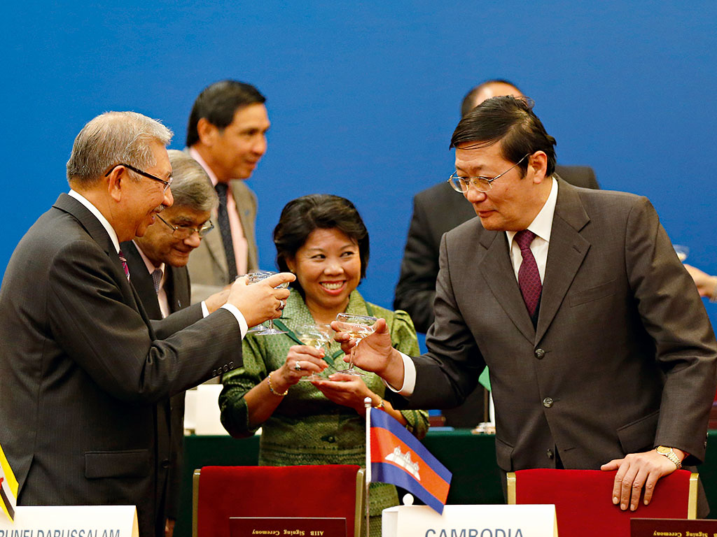 Chinese President Xi Jinping with fellow AIIB signatories