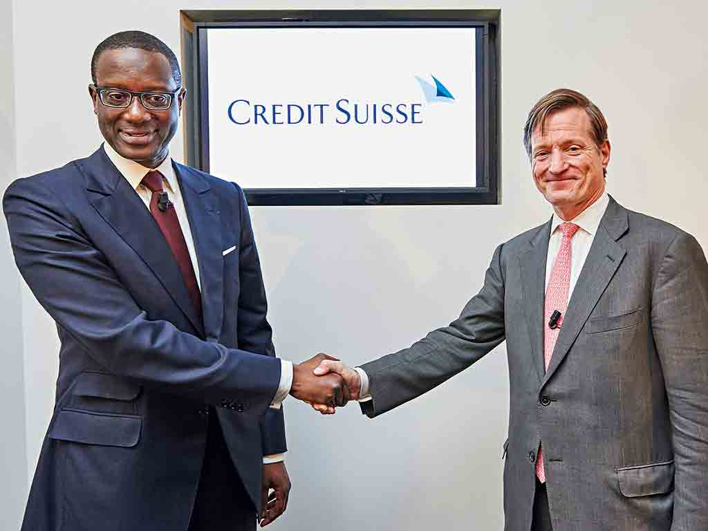 Tidjane Thiam with outgoing Credit Suisse CEO Brady Dougan