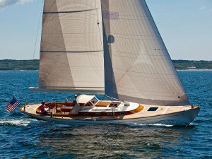 Design no. 2752, sailing near Martha's Vineyard. For more than eight decades Sparkman & Stephens has created some of the world's most stunning racing sail yachts