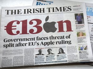The front cover of The Irish Times announces the European Commission's fine against Apple in August 2016