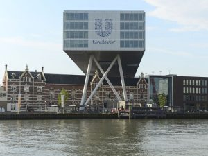 Unilever is currently headquartered in both London and Rotterdam (pictured). The company's departure deals a blow to the UK's pre-Brexit business campaigning