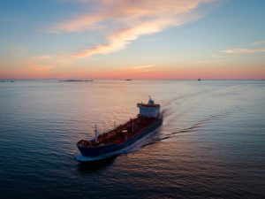 An oil tanker off the coast of Hordaland, Norway. Oil and gas form the backbone of the Norwegian economy, with petroleum exports accounting for 17 percent of GDP