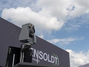 An anti-drone system from Hensoldt is presented at the International Paris Air Show